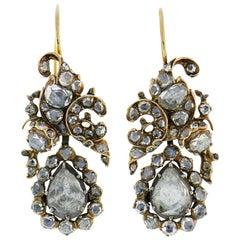Antique Victorian Rose Cut Diamond Dangle Earrings in Yellow Gold