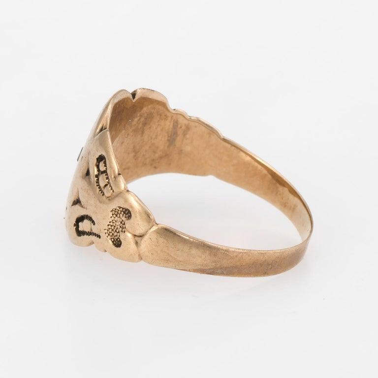 Antique Victorian Rose Cut Diamond Signet Ring Vintage 14k