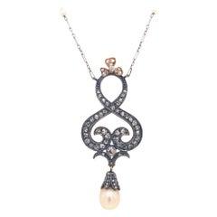 Antique Victorian Rose Cut Diamonds Pearl Platinum Gold Pendant Necklace