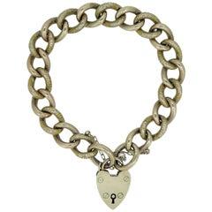 Antique Victorian Rose Gold Bracelet, Chased and Polished Curb Links, Padlock