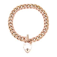 Antique Victorian Rose Gold Curb-Link Bracelet with Heart Padlock