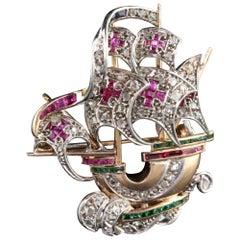 Antique Victorian Rose Gold Diamond Ruby Emerald Sapphire Santa Maria Boat Pin
