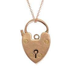Antique Victorian Rose Gold Heart Padlock Pendant Necklace