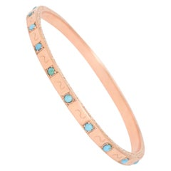 Antique Victorian Rose Gold Turquoise Bangle