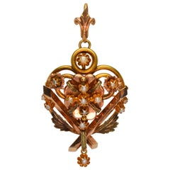 Antique Victorian Rose Yellow Gold Crest Brooch Pin Pendant with Pearl Accents