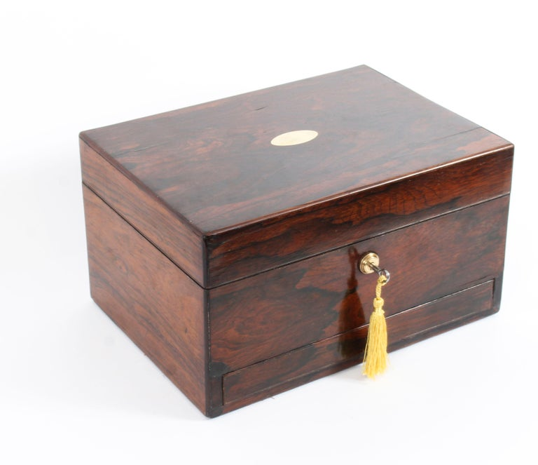 Victorian Rosewood & Sterling Silver Travelling Dressing Case 1861, 19th Century For Sale 12