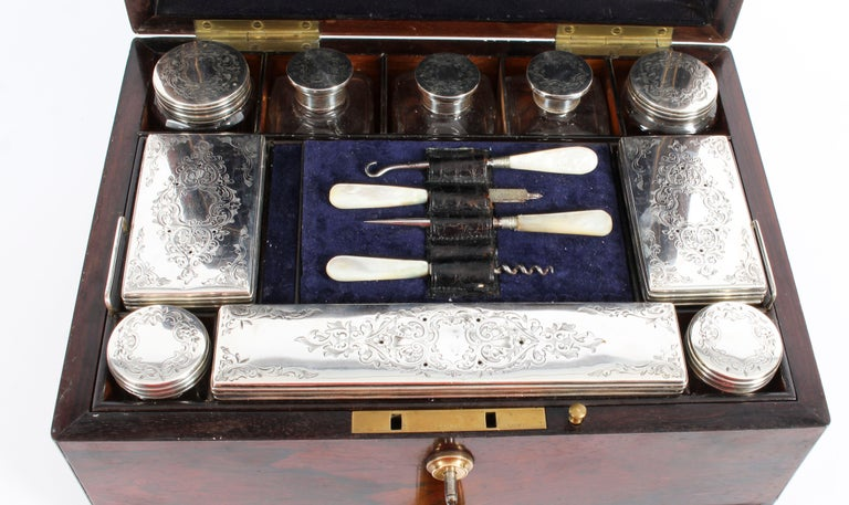 Victorian Rosewood & Sterling Silver Travelling Dressing Case 1861, 19th Century For Sale 15