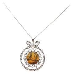 Antique Victorian Round Moss Agate Diamond 18 Karat Gold Pendant Necklace