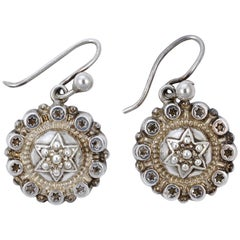 Antique Victorian Round Silver Star Drop Earrings with Golden Surround