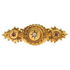 Antique Victorian Ruby 0.10 Carat Diamond 15 Karat Yellow Gold Vintage Brooch