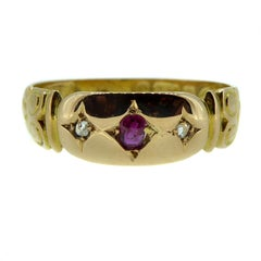 Antique Victorian Ruby and Diamond Ring, 15 Carat Gold, Hallmarked Chester, 1897
