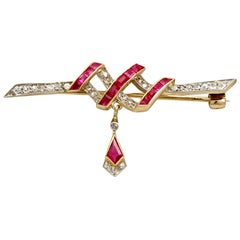 Antique Victorian Ruby and Diamond Yellow Gold Bar Brooch