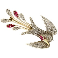 Antique Victorian Ruby and Diamond Yellow Gold Bird Brooch