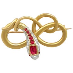 Antique Victorian Ruby and Diamond Yellow Gold Snake Brooch