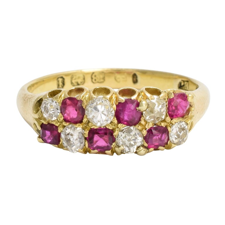 Antique Victorian Ruby Diamond Chequerboard Ring