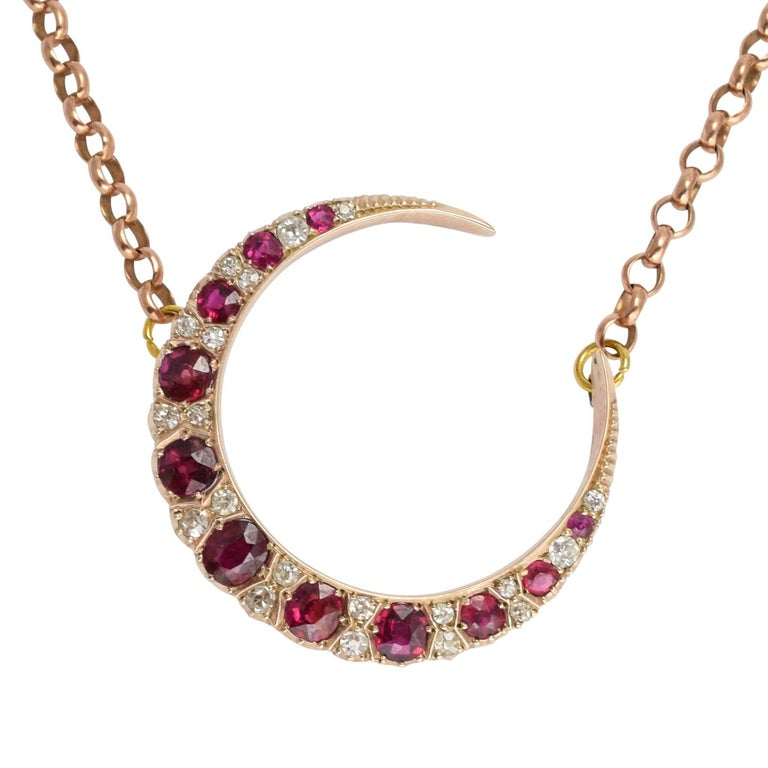 Antique Victorian Ruby Diamond Crescent Moon Gold Necklace