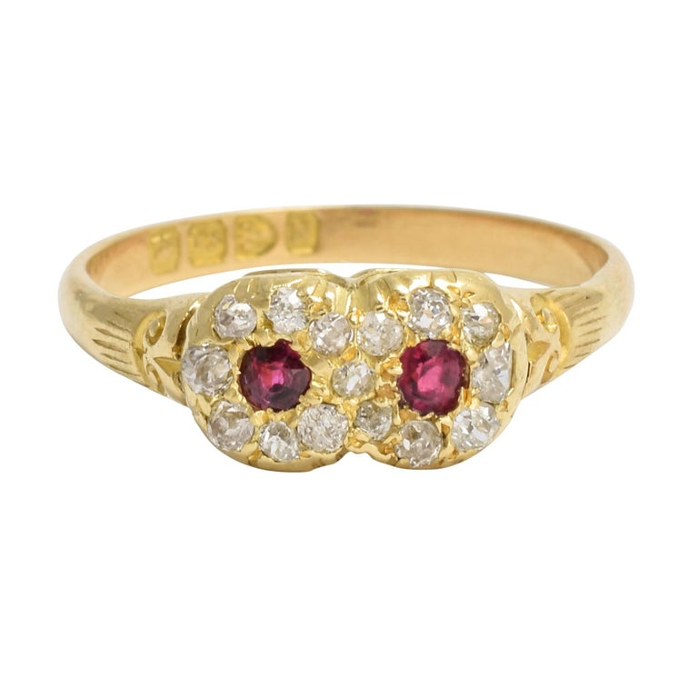 Antique Victorian Ruby Diamond Double Cluster Ring
