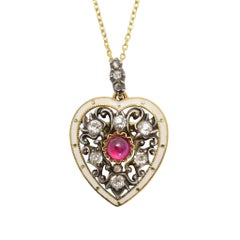 Antique Victorian Ruby Diamond Enamel Heart Pendant Necklace