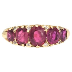 Antique Victorian Ruby Diamond Scrolled 5-Stone Ring