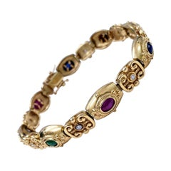 Antique Victorian Ruby, Emerald, Sapphire Cabochons and Diamonds Bracelet