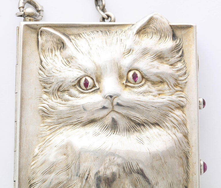 Victorian Antique Art Deco Ruby Eyed Kitten Silver Purse/Compact For Sale