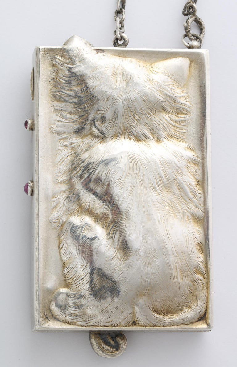 Women's or Men's Antique Art Deco Ruby Eyed Kitten Silver Purse/Compact For Sale