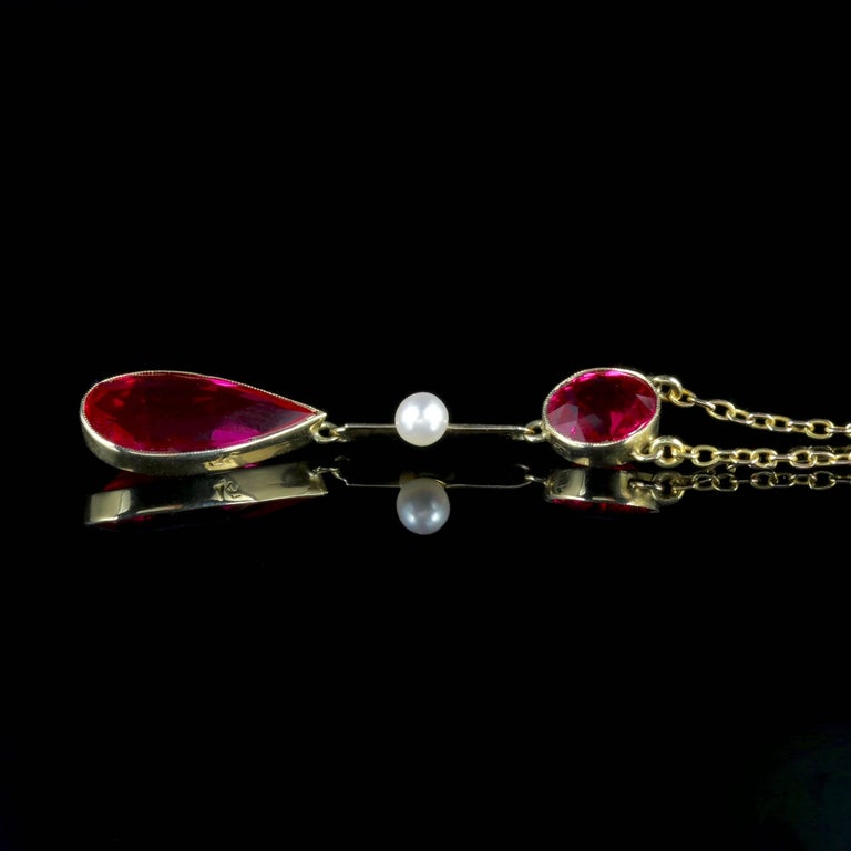 Antique Victorian Ruby Necklace 15 Carat Gold Pearl, circa 1890 In Excellent Condition For Sale In Lancaster, Lancashire