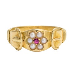Antique Victorian Ruby Pearl Buckle Ring