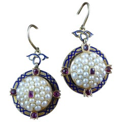 Antique Victorian Ruby Pearl Drop Earrings, circa 1880s, 15 Carat Gold
