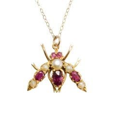 Antique Victorian Ruby Pearl Fly Pendant Necklace