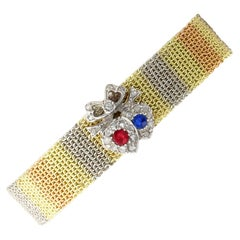 Antique Victorian Ruby, Sapphire, Diamond and Gold Bracelet, circa 1890