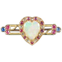 Antique Victorian Ruby Sapphire Opal Heart Brooch 18 Carat Gold