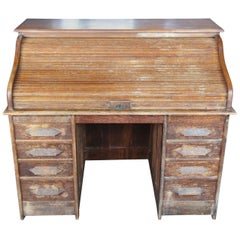 Antique Victorian S-Curve Solid Oak Roll Top Desk Tambour Door Side Drawers