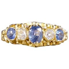 Antique Victorian Sapphire and Diamond Five Stone in Ring 15ct Yellow Gold