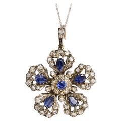 Antique Victorian Sapphire and Diamond Flower Pendant