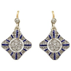 Antique Victorian Sapphire and Diamond Yellow Gold Drop Earrings