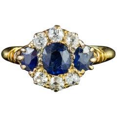 Antique Victorian Sapphire Diamond 18 Carat Gold circa 1900 Ring