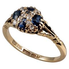 Antique Sapphire Diamond Cluster Dress Ring 18 Karat Gold