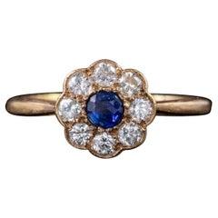 Antique Victorian Sapphire Diamond Cluster Ring 18 Carat Gold, circa 1900