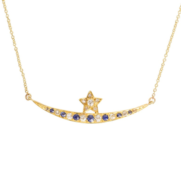 "Antique Victorian Sapphire Diamond ""Crescent and Star"" Necklace For Sale"