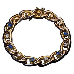 Antique Victorian Sapphire Diamond Gold Link Bracelet