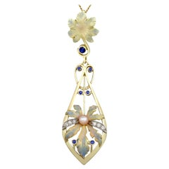 Antique Victorian Sapphire Diamond Pearl and Enamel Yellow Gold Pendant