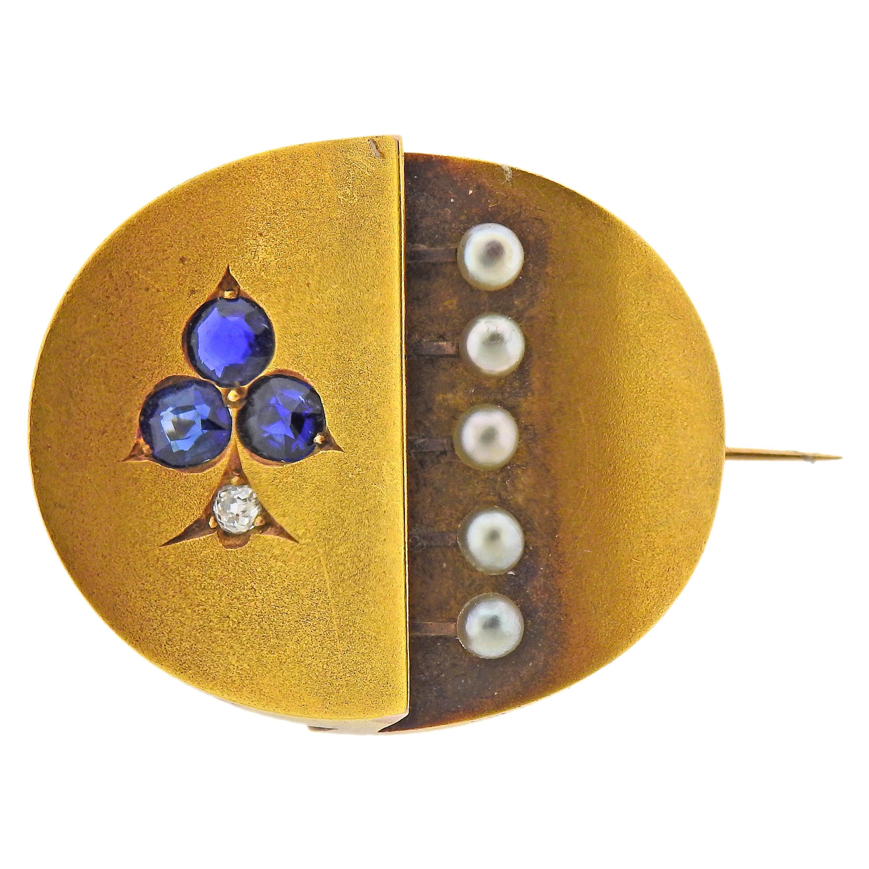 Antique Victorian Sapphire Diamond Pearl Gold Brooch Pin