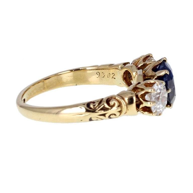 Engagement Rings Newcastle: Antique Victorian Sapphire And Diamond Three-Stone