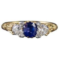 Antique Victorian Sapphire Diamond Trilogy Ring 18 Carat Gold, circa 1900