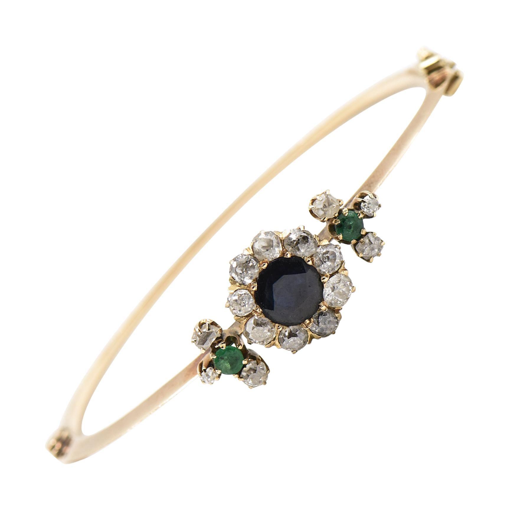 Antique Victorian Sapphire Emerald Diamond Flower Gold Bangle Bracelet