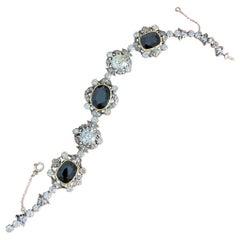 Antique Victorian Sapphire Old Mine Cut Diamond Bracelet Silver Gold, 1890s