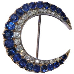 Antique Victorian Sapphires Diamonds Crescent Rose Gold Silver Moon Brooch