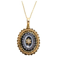 Antique Victorian Sardonyx Diamond Flower Locket
