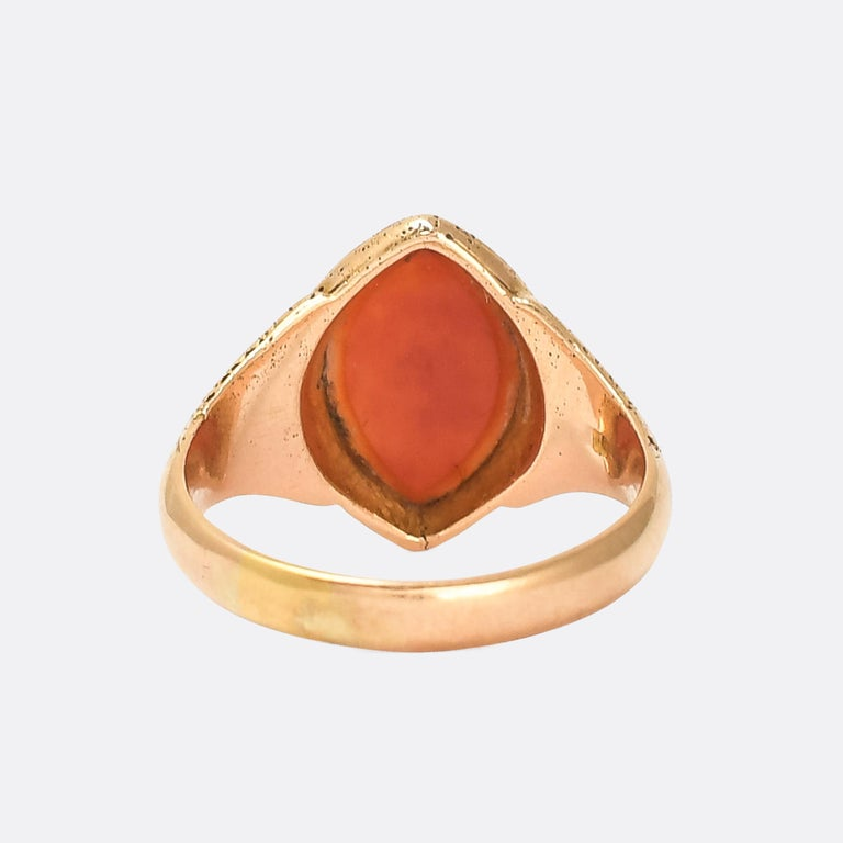 Marquise Cut Antique Victorian Sardonyx Navette Signet Ring For Sale